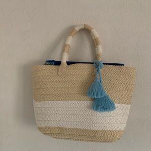Handbags - Beach Themed Woven Tote Bag with Zipper Bag